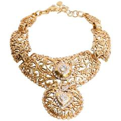 CHRISTIAN LACROIX Necklace Gilt Metal and Strass