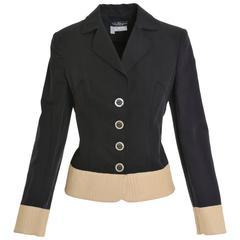 SALVATORE FERRAGAMO Black and Cream Leather Jacket