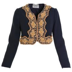 1960s Italian Couture Blue Bolero Jacket with Wooden Embroidery