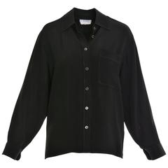 1980s SAINT LAURENT Rive Gauche Black Silk Blouse Shirt