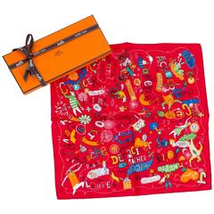 Hermes Red Silk Les Confessions Pocket Scarf in Box