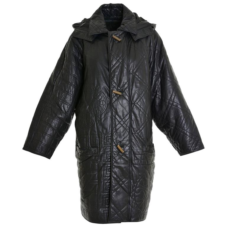 1980s GIANNI VERSACE Long Leather Hooded Jacket