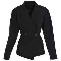 YOHJI YAMAMOTO Black Asymmetric Gabardine Blazer Jacket