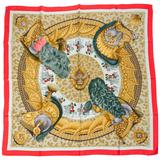 Hermes Casques et Plumets Red Silk Scarf,
