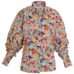 1980s Alaïa Abstract Print Cotton Oversize Shirt