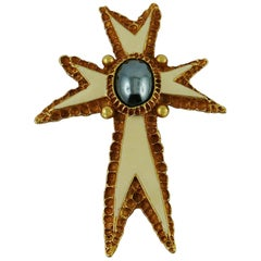 Christian Lacroix Vintage Enamel Cross Brooch