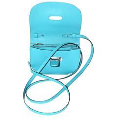 Hermes Micro Convoyeur - Wallet Bag - Turquoise Blue Swift Leather