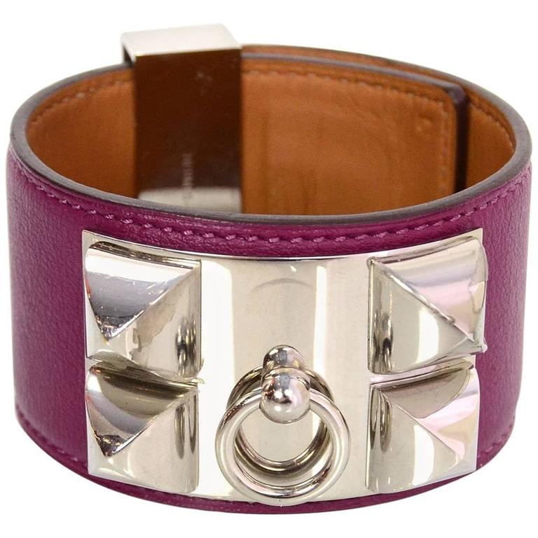 Hermes Tosca Leather Collier de Chien CDC Cuff Bracelet Sz L For Sale