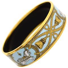 Hermes Blue and Gold Cloisonne Horse & Tassel Wide Enamel Bangle Bracelet sz 65