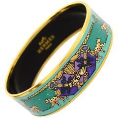 Hermes Turquoise and Purple Wild Cat Print Wide Enamel Bangle Bracelet Sz 70