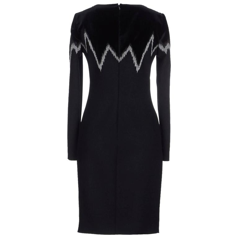 New EMILIO PUCCI Metallic Embroidered Black Wool Velour Dress It.46