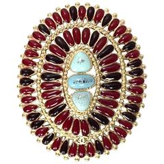 Chanel Paris/Dallas Burgundy & Turquoise Oval Brooch Pin rt. $825