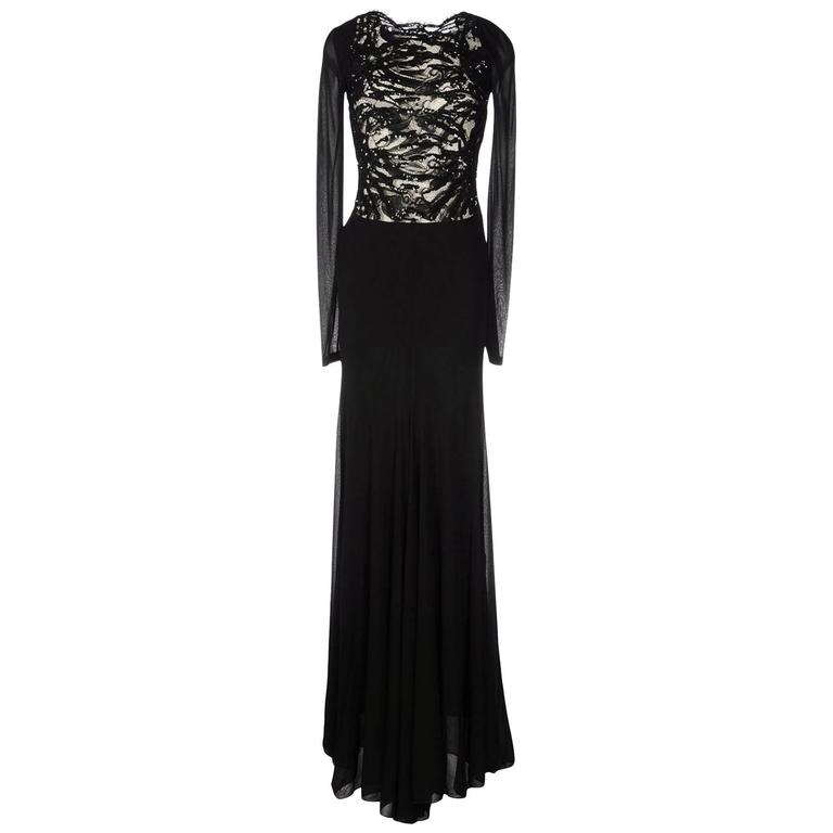 New EMILIO PUCCI Embellished Black Lace Jersey Dress Gown It 40 - US 4