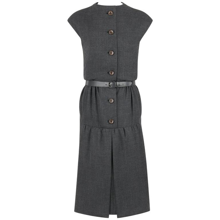 GEOFFREY BEENE c.1960's Gray Wool Button Front Belted Shift Dress