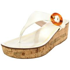 Prada White Patent Leather T- Strap Wedges Sz 36
