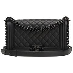 Chanel SO Black Quilted Grained Lambskin Medium Boy Bag