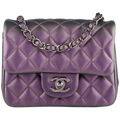 Chanel Iridescent Purple Quilted Lambskin Square Mini Classic Flap Bag