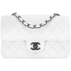 Chanel White Crumpled Calfskin Rectangular Mini Classic Flap Bag Black Hardware