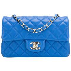 Chanel Blue Quilted Lambskin Rectangular Mini Classic Flap Bag