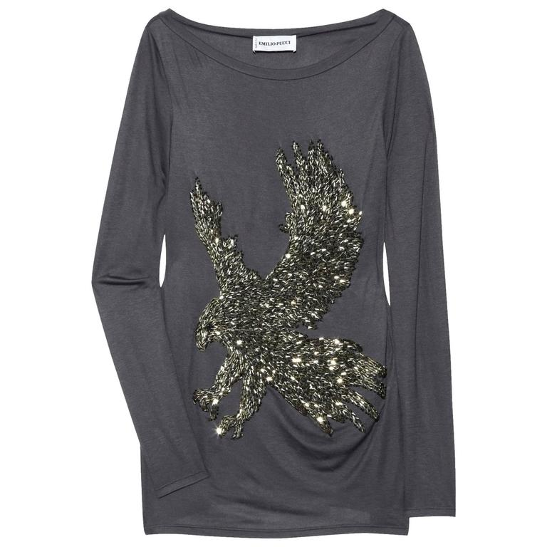New EMILIO PUCCI Eagle Hand Embellished Beaded Gray Jersey Long Sleeve Top 38  4