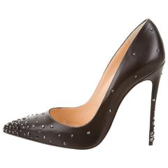 Christian Louboutin New Black Leather Crystal Stud Evening Heels Pumps in Box