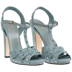 New GUCCI Light Blue Crystal Embellished Suede High Heel Shoes Sandals It 39 - 9