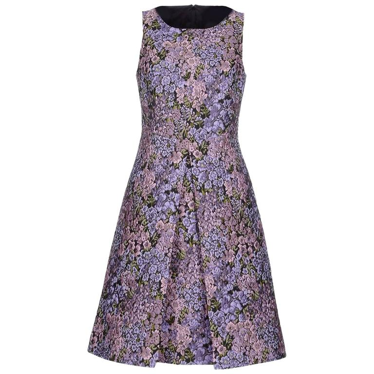 New MICHAEL KORS Jacquard Lilac Floral Design Dress size 12 1