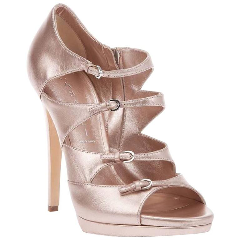 New CASADEI Strappy Pink Leather Double Platform Shoes Pumps It 38.5 - US 8.5