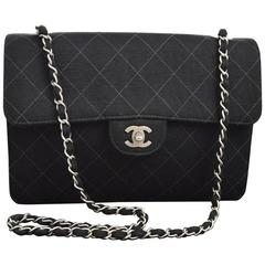 Chanel Black Fabric Cross Stitch Classic Silver Chain Evening Shoulder Flap Bag