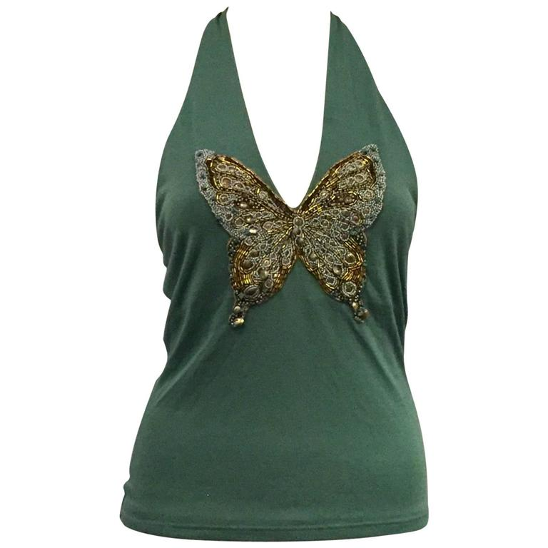 Very Sexy Valentino V Neck Halter Top Vibrant Green with Beaded Butterfly