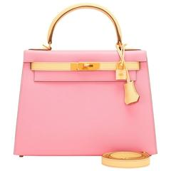 Hermes HSS Bi-Color Rose Confetti and Jaune Poussin Epsom Sellier Kelly 28cm