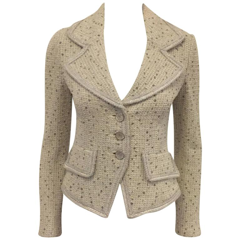 cf4e3aa09 Current St. John Couture Jacket Ivory with Black and Gold Threads  Throughout For Sale