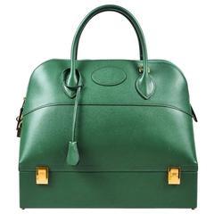 "Vintage Hermes Vert Green Veau Grain Lisse Leather ""Bolide Double Bottom"" Bag"