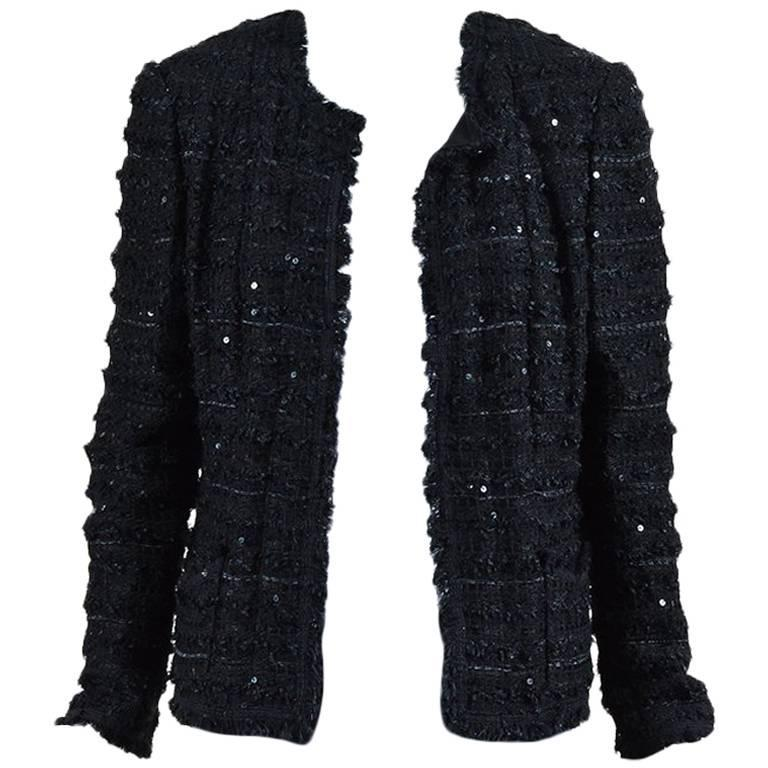 Chanel Black Woven Tweed Sequin Fringe Trim Long Sleeve Blazer Jacket 1