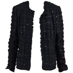 Chanel Black Woven Tweed Sequin Fringe Trim Long Sleeve Blazer Jacket
