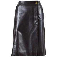 Chanel 01A Brown Leather A Line Button Down Wrap Skirt SZ 42