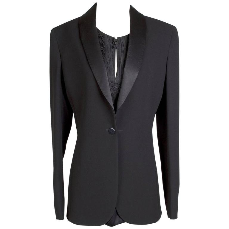 Jean Paul Gaultier Black Blazer with Attached Silk Shirt circa 1990s