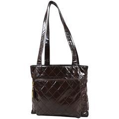 Vintage Chanel Brown Patent Leather Quilted Shopper Shoulder Tote Bag