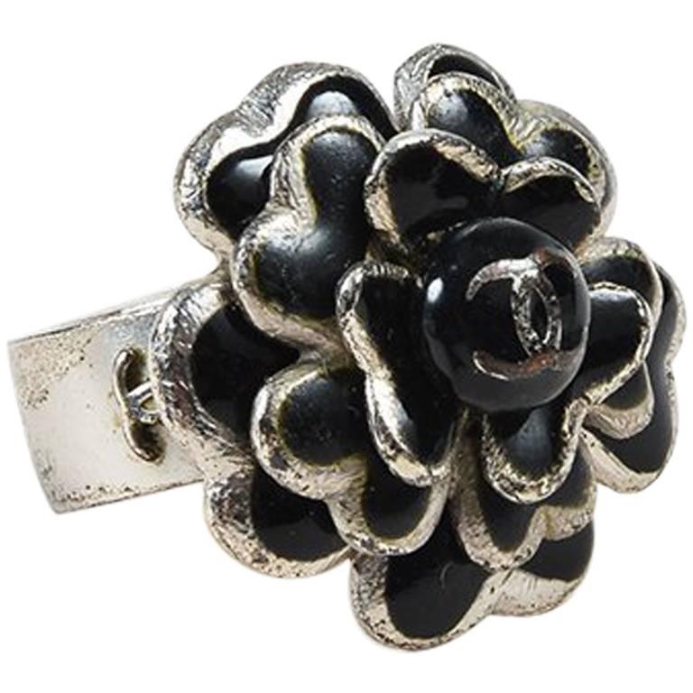 chanel 03p sterling silver black enamel camellia ring sz 6