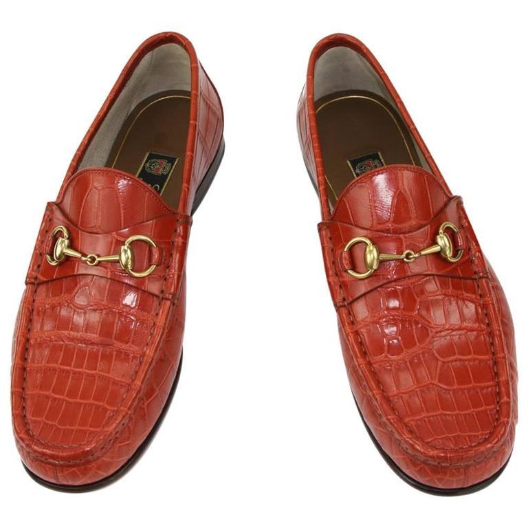 49aec952e28 New GUCCI Men s Runway 1953 Horsebit CROCODILE Orange Spicy Loafers 9 - US  9.5 For Sale