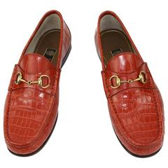 New GUCCI Men's Runway 1953 Horsebit CROCODILE Orange Spicy Loafers 9 - US 9.5