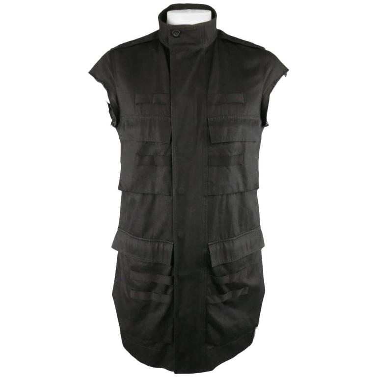 RICK OWENS CYCLOPS S/S 2016 42 Black Solid Cotton Military Pocket Vest