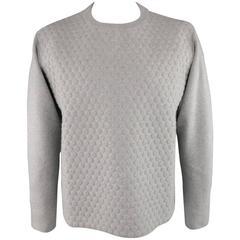 JIL SANDER Size L Light Gray 3D Textured Wool / Cashmere Newneck Pullover