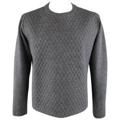 Men's JIL SANDER Size L Dark Heather Gray 3D Textured Wool / Cashmere Pullover