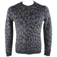 RAF SIMONS Size S Navy & Grey Cheetah Print Mohair Blend Pullover Sweater
