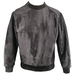 Men's CALVIN KLEIN COLLECTION Size 38 Black Embossed Ponyhair Crewneck Pullover
