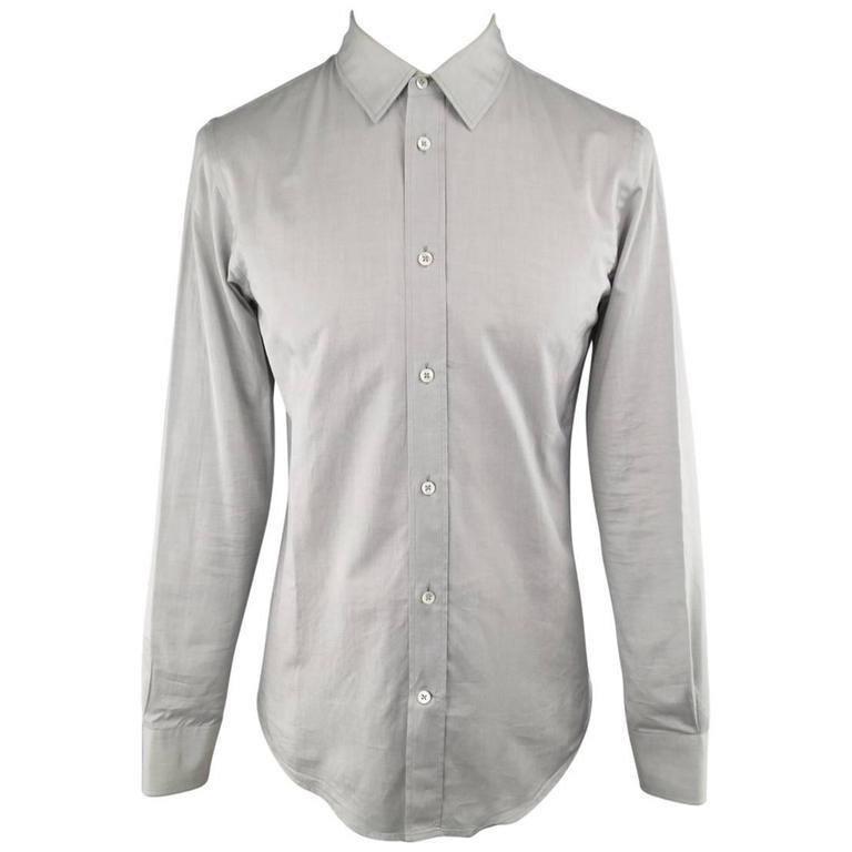 Men's MAISON MARTIN MARGIELA Size S Light Gray Solid Cotton Long Sleeve Shirt