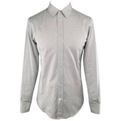 Men's MAISON MARTIN MARGIELA Small Light Gray Solid Cotton Long Sleeve Shirt