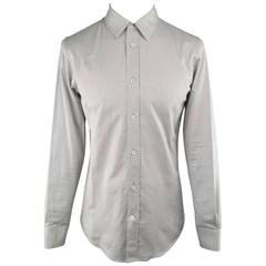 Men's MAISON MARTIN MARGIELA Shirt - Small Light Gray Solid Cotton Long Sleeve