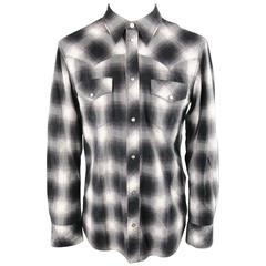 Men's NUMBER (N)INE Size L Black White & Gray Shadow Plaid Cotton Western Shirt